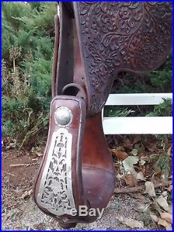 VINTAGE FLEMING STERLING SILVER & FILIGREE Saddle marked Santa Ynez Caliente