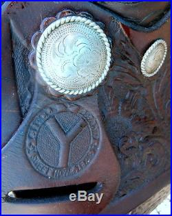 Vintage Circle Y Horse Show Saddle Silver Conchos Silver Laced Pommel/Cantle