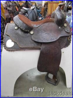 Vintage Hereford Tex Tan Heart Silver Show Saddle Used 15