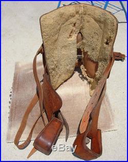 Vintage Longhorn western saddle 15 16 tooled #444 roping show leather pleasure