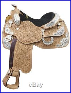 WESTERN HORSE SHOW SADDLE LOADED WITH SILVER 16 GENUINE LEATHER