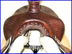 WESTERN ROPING SADDLE SET THSL SQUARE MATT TOOLED BROWN/NAT 17 (1067)