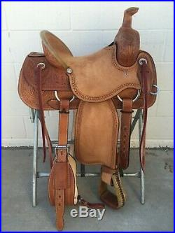 Western Brown Rough Out Leather Hand carved Roper Ranch Saddle 15,16,17,18