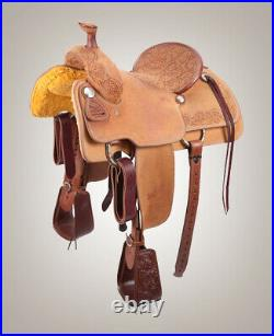 Western Leather Hand Carved Roper Ranch Saddle with Suede Seat 15,161718