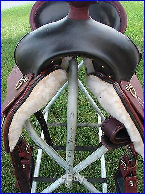 Western Pleasure Trail Ranch Gaited Horse Saddle 15 Endurance Mahogany #02
