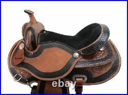 Western Trail Saddle 15 16 17 18 Brown Tooled Leather Horse Pleasure Tack Set