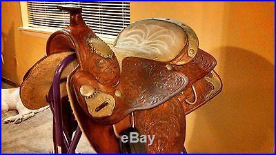Western show saddle. Buffalo saddlery 15 Lots of silver, good condition