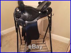 Western trail / endurance saddle 15 Black with Silver trim Pristine condition